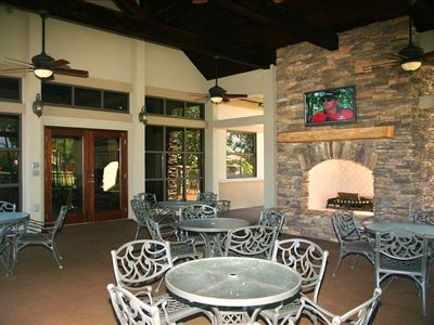 Covered Outdoor Seating/Deck at Emerald Bay Clubhouse