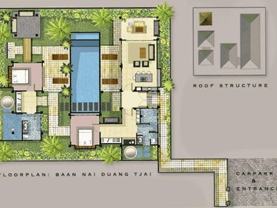 You Can See the Layout Here of Villa Samprasada--All rooms overlook the pool...