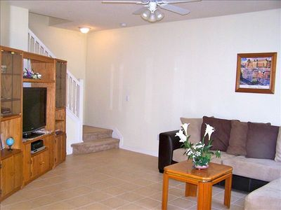 "Venice townhome rental - Living room with 42""Sharp TV,DVD,video games"
