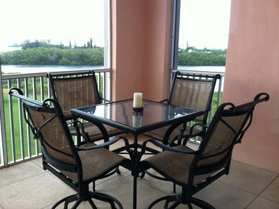 Relax on the spacious lanai while you watch the boats come into the marina.