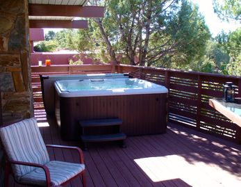 Sedona house rental - Jacuzzi on private deck under amazing starry sky. Professional care. Up to 6 !