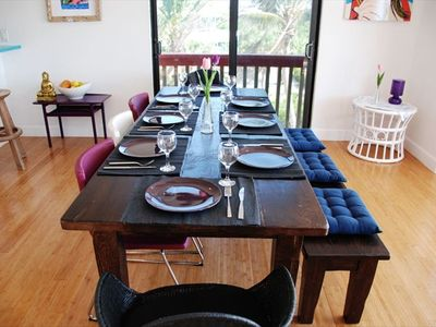 Delightful dining for 8  at the rustic family-style Tuscan table.