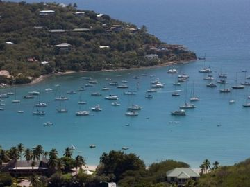 The view...the famous Great Cruz Bay & anchored sailboats from around the world