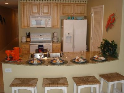 Fully equipped kitchen at our Panama City Beach vacation rental at Splash