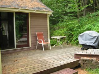 Lincoln cabin photo - Back deck with gas grille and facing woods with hiking trail a few steps away