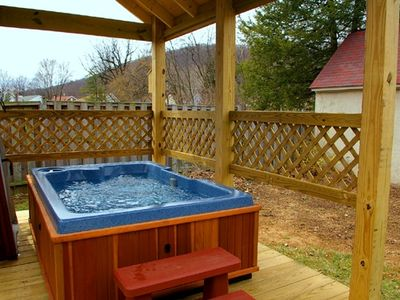 Covered Hot Tub in Rear of Cottage