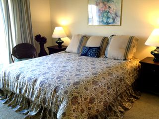 The large Master bedroom features a King-sized bed - Lake Geneva cottage vacation rental photo