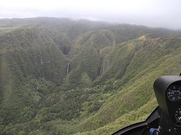 Molokai's waterfalls, photo taken by owner from plane