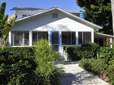 Boca Grande house rental - Front of house with screened porch.