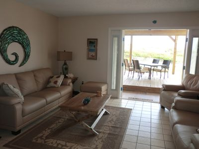 """Sand"" Living Area Opens onto Oceanfront Dune deck, Surf and Sand OceanFront!"