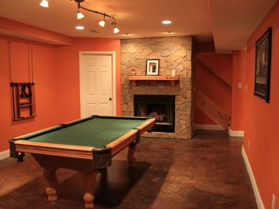 Game Room with Fireplace, Pool Table, Golden Tee Arcade Game, and Checkers!