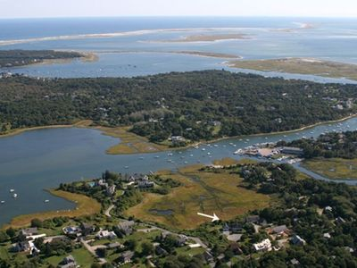 Aerial shot Of Chatham Classic. Oyster Pond/River, Nantucket Sound