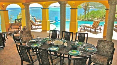 Loveliest outdoor dining in the Caribbean. Wet bar, gas grill, fridge, icemaker