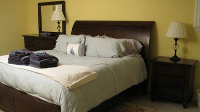 The second master bedroom is a King bed with temperpeadic mattress topper.
