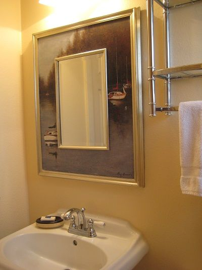 Bathroom with pedestal sink & mirror
