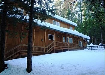 Dorrington cabin rental - Notice the gentle slope, perfect for sledding! There's also a level area to play