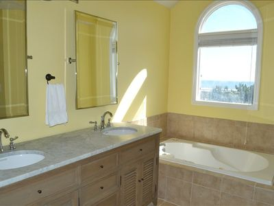 Large master bath also has whirlpool tub, plus great ocean views!