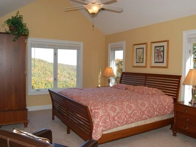 Upper Level Master Suite with Vaulted Ceiling and Year Round Mountain Views