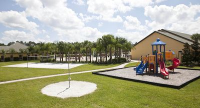 Volley ball court and playground!