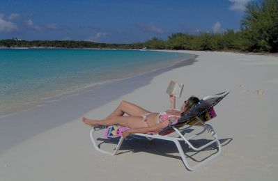 Great Exuma villa rental - This could be you - just lazing on Hoopers Bay Beach by Coral Sands House