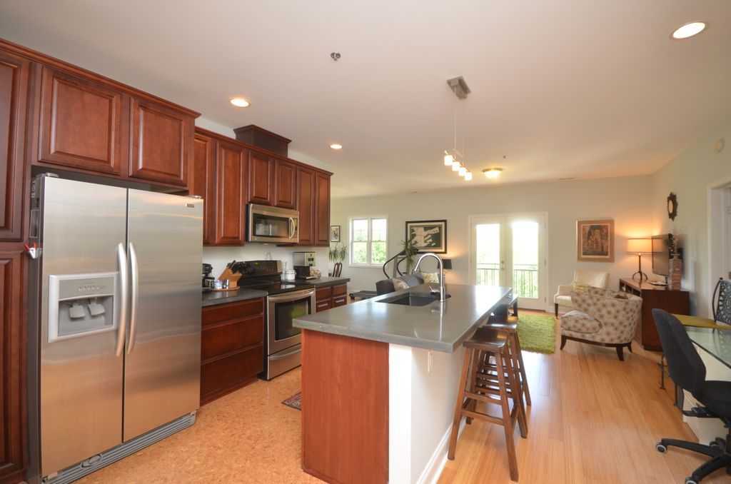 Asheville condo with downtown sunset vrbo - Front door opens to kitchen ...