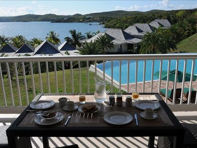 Breakfast - looking out over the pool and Nonsuch Bay