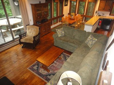 Killington house rental - Living room/ fieldstone fireplace