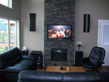 42'' flat screen with cable, internet and built in sound system