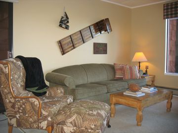 Donner Lake condo rental - Family Room with Fireplace and Mountain View