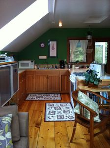 Juneau cabin rental - Fireweed Apartment Kitchen with skylights