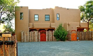 Santa Fe townhome photo - Front view of 4 family townhome compound around a central open atrium.