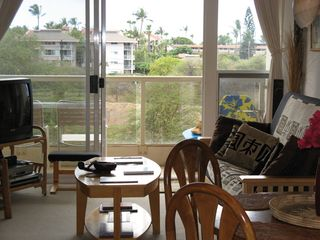 Kihei condo photo - View to outside from living room