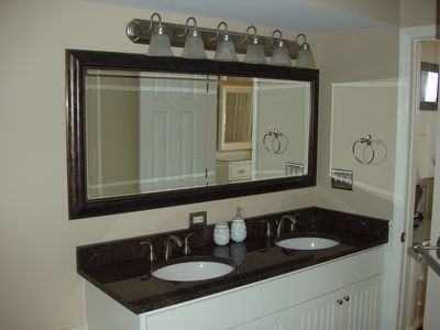 Master Bathroom Double Vanity with Granite Top