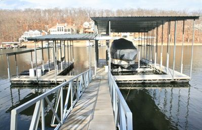 Large Dock with 2 Slips, 2 PWC Slips and Swim Platform for Lakeside Fun