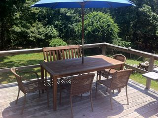 Montauk cottage photo - MAIN DECK TABLE UMBRELLA AND BBQ