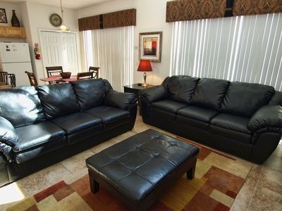 Large Family Room with 2 large leather sofas for relaxing