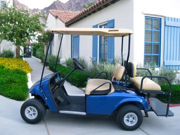 La Quinta townhome rental - One Story, With Golf Cart, Pool and Spa Steps From Patio