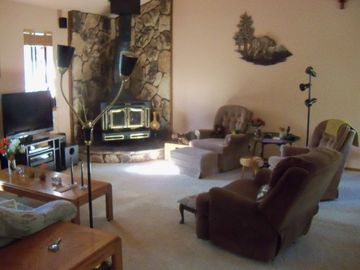 Another View of the Living Area with Wood Stove and Metal Sculpture on Wall