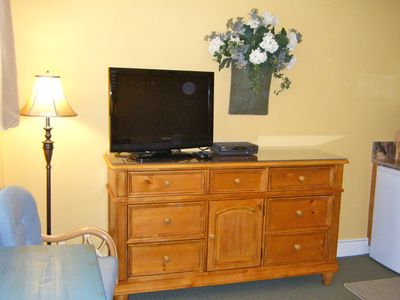 Large screen TV - Enormous drawer storage and large walk-in closet