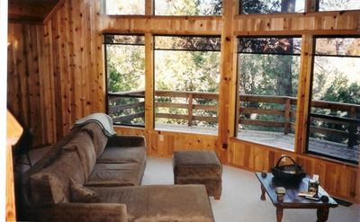 Idyllwild cabin rental - Living room with full couch and chaise attached