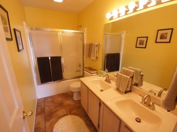 The Master Bath offers a Tub / Shower Combo and Double Vanity