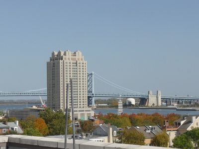 View of the riverfront from private roof deck
