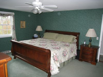 West Dennis house rental - Master Bedroom with king, overlooking back lawns and the Barn