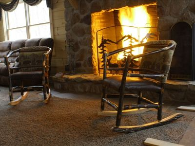 Sitting by the fire on a cold winter day at Trough Creek Laurel Lodge