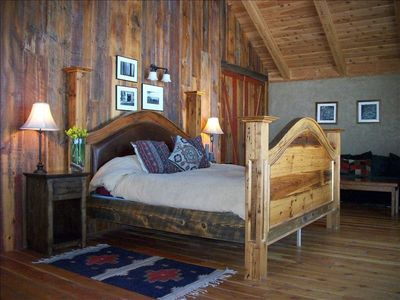Upstairs Bedroom overlooking Bridger Mountains with King Size bed
