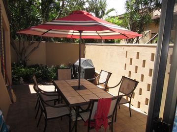 First Lanai, table for 6 and Weber Gas BBQ, very private