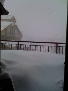 2 feet of fluffy powder overnight on the condo deck!