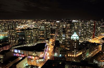 Nightview of False Creek from Living Room/Den/Bedrooms