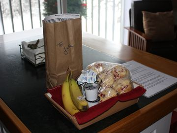 Breakfast goodies and surprise bag for our younger guests