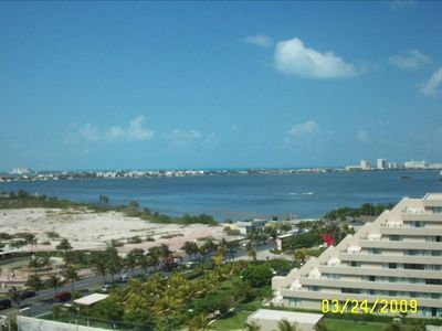 The city of Cancun is a twenty minute ride by bus.